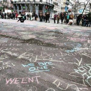 Brussels street chalk