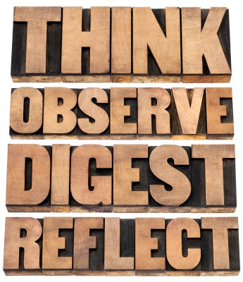 think, observe, digest, reflect