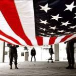 US Flag drapping