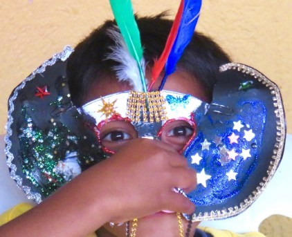 """The theme of the camp is """"When you Wish Upon a Star."""" This camper has taken the theme seriously on his mask."""