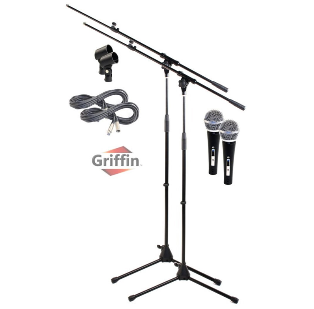 Microphone Boom Stand With Xlr Mic Cable Cardioid Dynamic