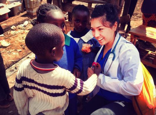 Christin seeing some kids in Kuwinda.