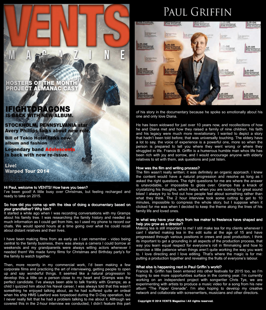 Paul Griffin Interview with Vents Magazine