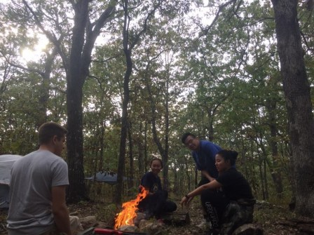 Camp fire with my friends in the forest.