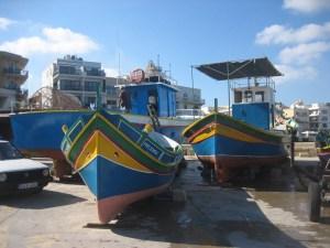Traditional fishing boats at Mgarr harbor