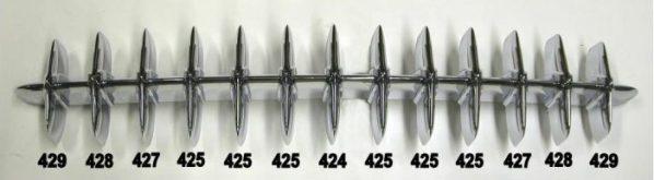1953-1957 Corvette grille diagram
