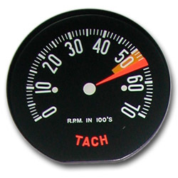 Corvette Tachometer Face 1959 Low Redline