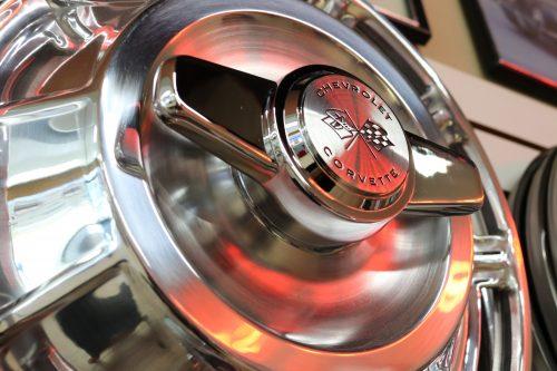 Closeup Corvette hubcap