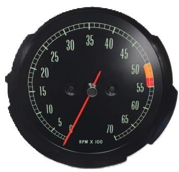 1965-1967 corvette 6000 redline tachometer