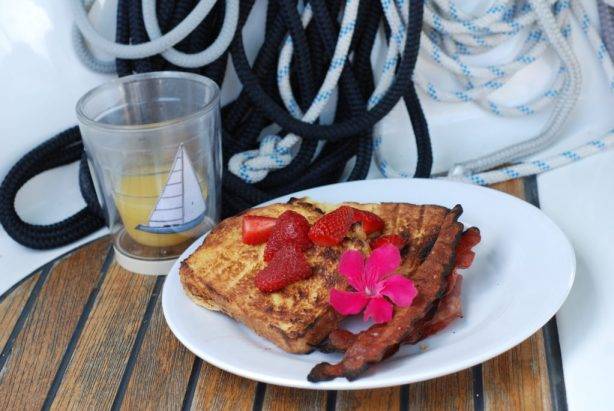 Breakfast is always better served on a sailboat. The salt air seems to heighten an appetite!