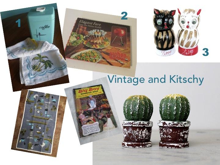 Vintage and Kitschy items make for fun gifts: Vintage linen tea towels, vintage Weber cookbook, vintage salt and pepper shakers - all found on etsy.