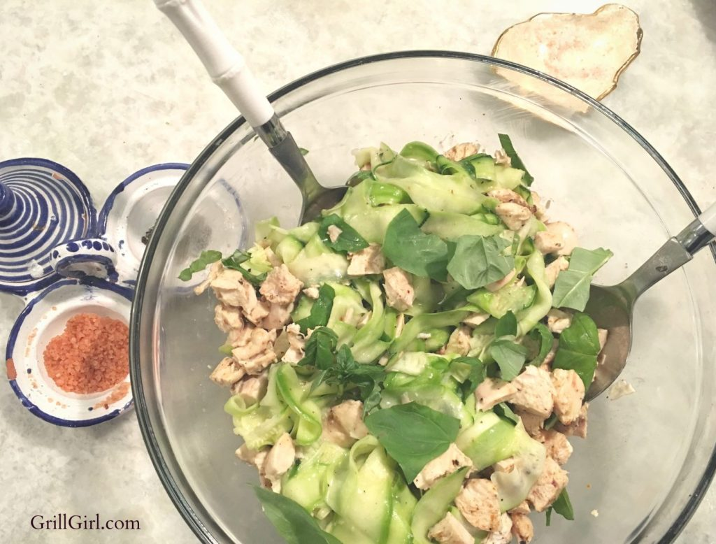 cooking with essential oils_thai basil chicken noodle salad