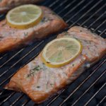 Grilled Salmon on the Charcoal Grill Grates