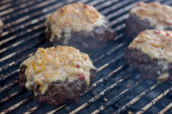 Burgers Soaked in Worcestershire Sauce with Pimento Cheese