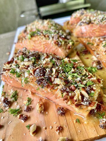 panko crusted cedar planked salmon