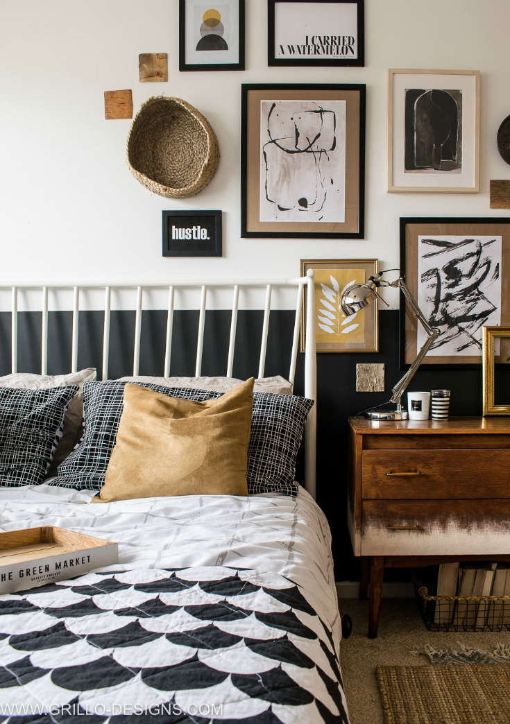 Vintage Asymmetrical Gallery Wall In Small Bedroom Makeover Grillo Designs Www Grillo Designs