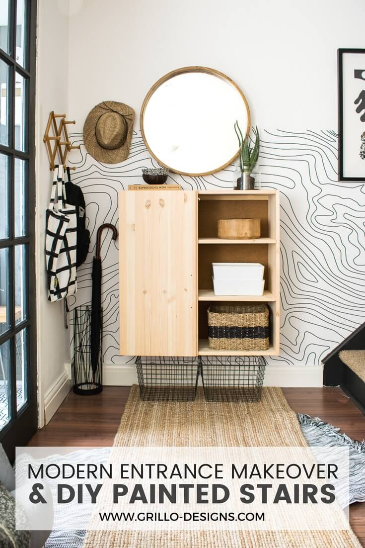 Entrance And Stairs Makeover For Small Space Dwellers • Grillo | Carpet Risers For Stairs | Hardwood Floors | Staircase Makeover | Hardwood | Open Riser | Stair Railing
