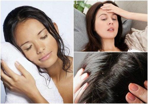 Dormir con el cabello mojado produce caspa y lo deja débil