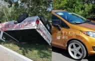 """Por pelear con un chófer volcó una camioneta de Tolsac, en """"Los Héroes"""""""