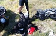 Par de motociclistas derrapan y se lesionan en la carretera San Crisanto-Chabihau