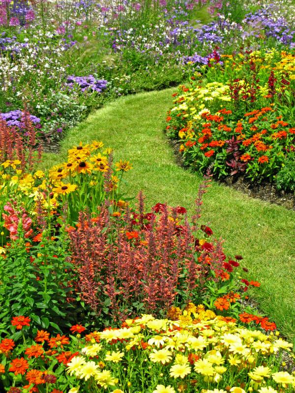 Colorful, Landscaped, Flower Garden
