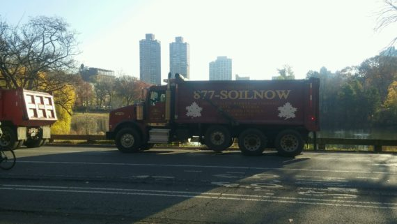 Grillo Services truck in Central Park after delivering a load of topsoil.