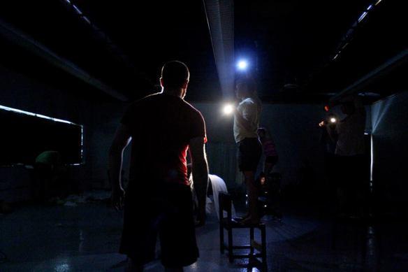 Macbeth back lit in rehearsal