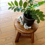 花台にもなる木製椅子。木の厚みたっぷりなミニスツールです。
