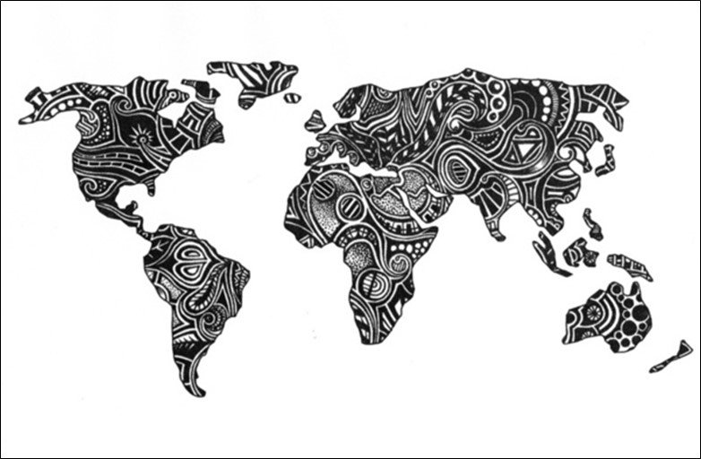 50 beautiful world maps portrayed by different things apple world map gumiabroncs Choice Image