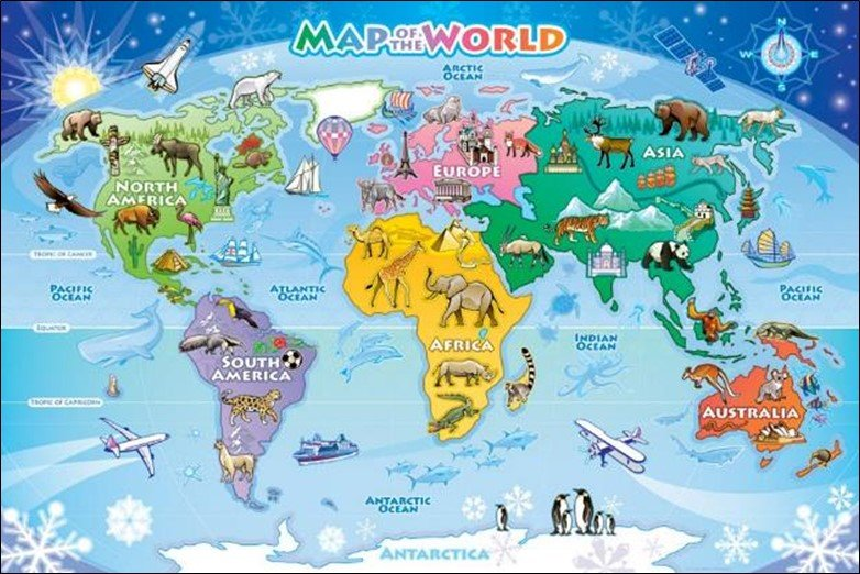 Kid Map Of Africa.50 Beautiful World Maps Portrayed By Different Things