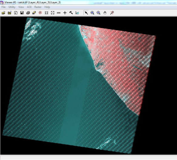 Layer Stacking and SLC correction of Landsat 7 image using