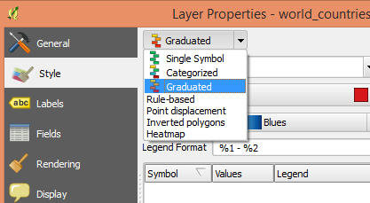 Layer Properties graduated color