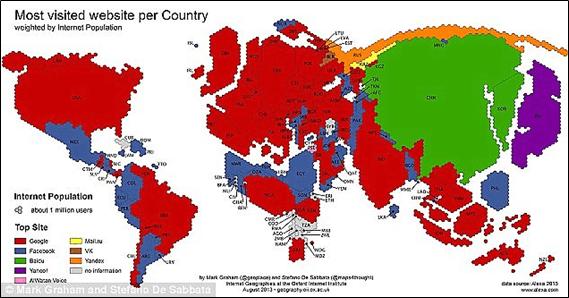 most visited website map