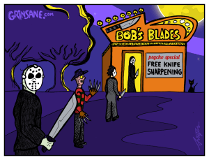 Free Knife Sharpening Jason Voorheen Cartoon