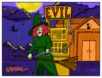 Witch Broom Gas Station Cartoon