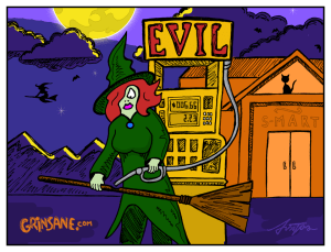 Witch Broom Gas Station Cartoon