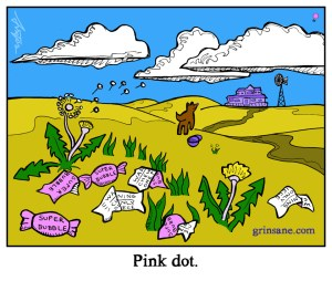 Pink Dot Bubble Trouble Gum Cartoon