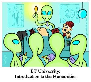 Alien University Probing Cartoon