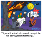 Witch Crash Self-Driving Broom Cartoon