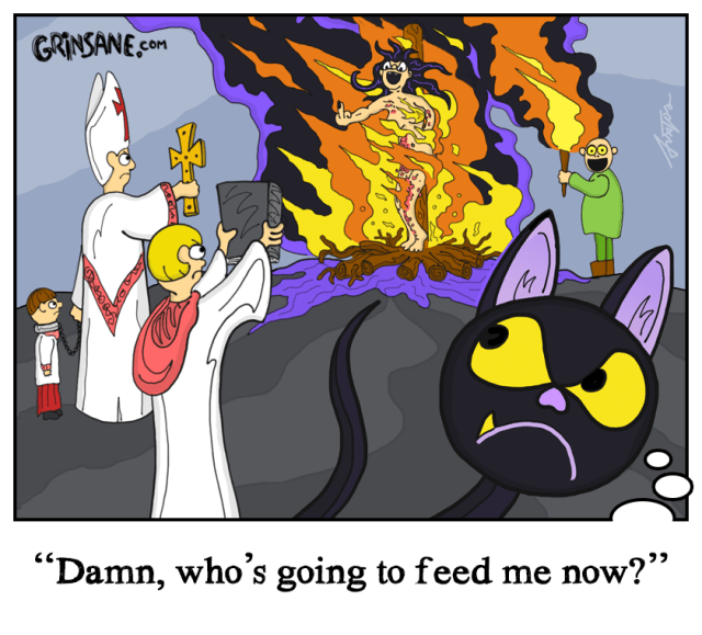Witch Burning Cat Cartoon