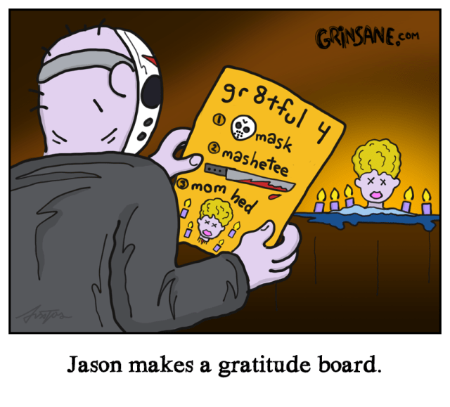 Jason Voorhees Gratitude Board Cartoon