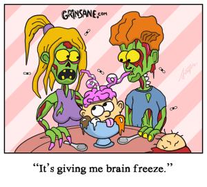 Brain Freeze Zombie Cartoon