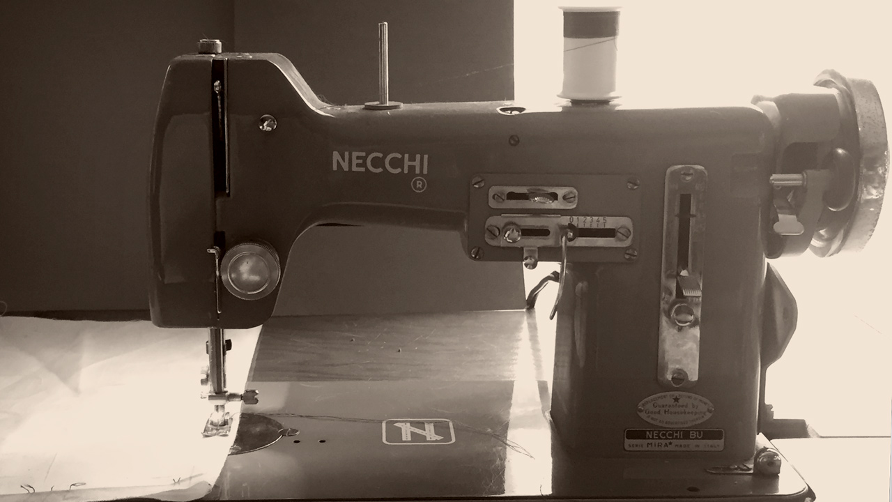 Photo of a vintage Italian-made Necchi sewing machine