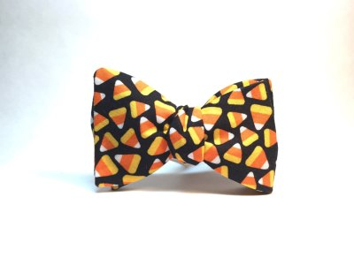 Photo of bow tie with candy corn pattern
