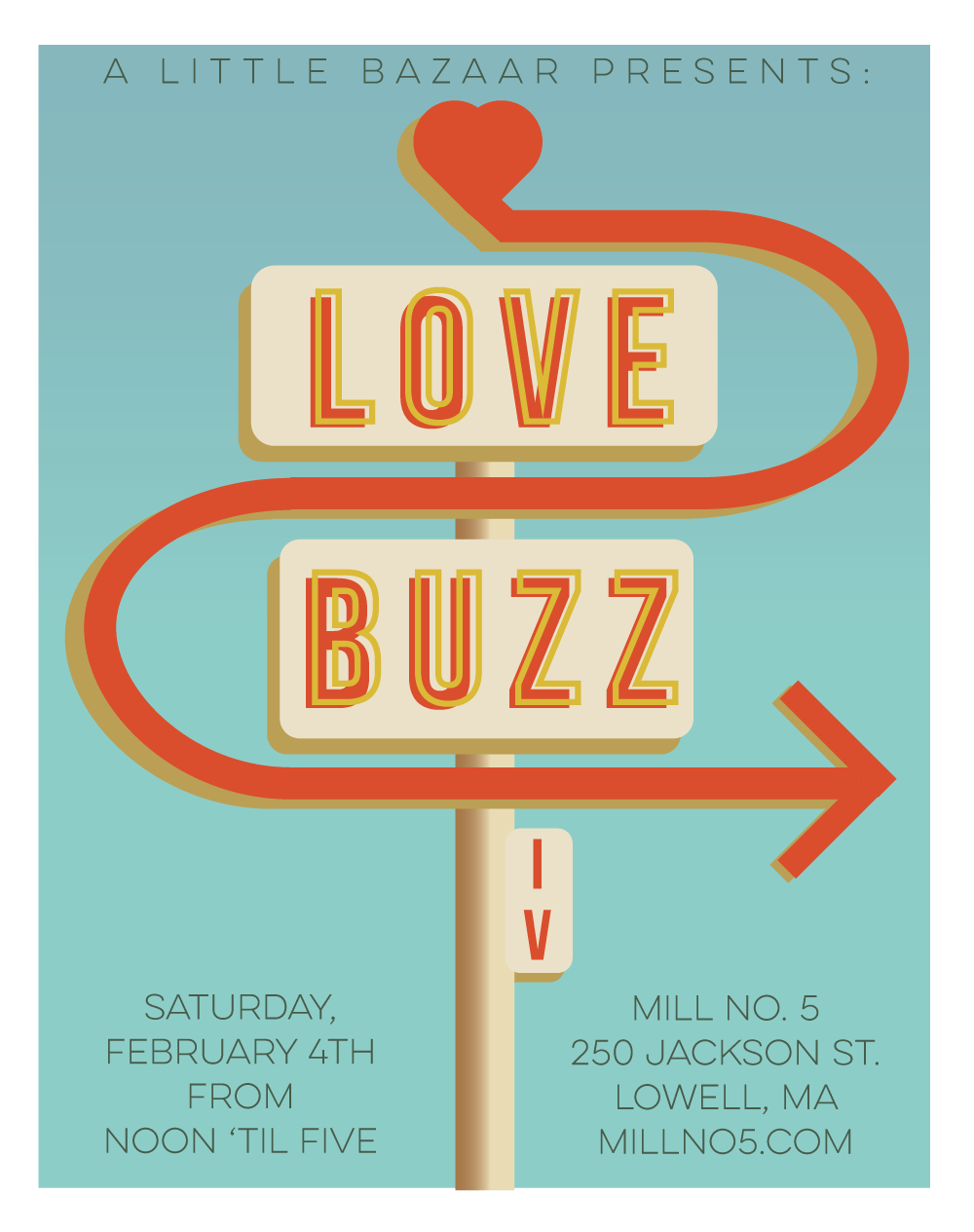 Flyer for Love Buzz IV at Mill No. 5