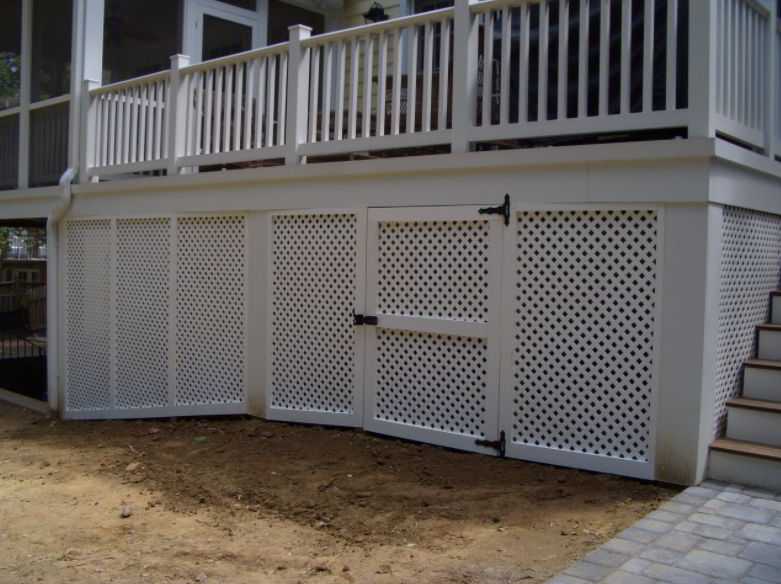 Deck Skirting with White Lattice Door