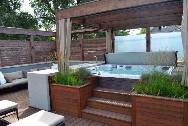 Rustic Hot Tub Deck Design