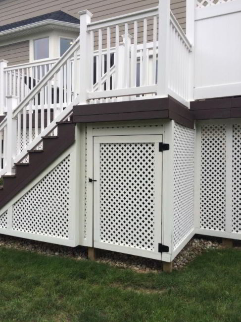 White Lattice Skirting with a Door