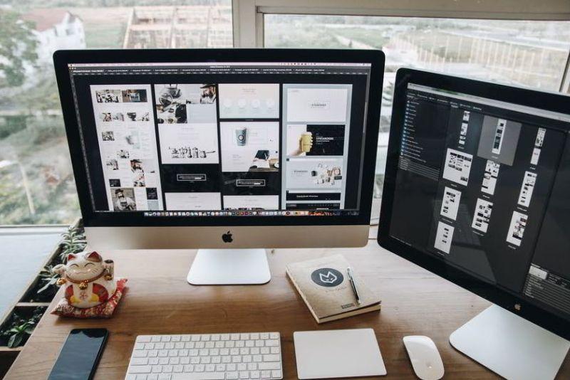 minimalist dual computer desk design