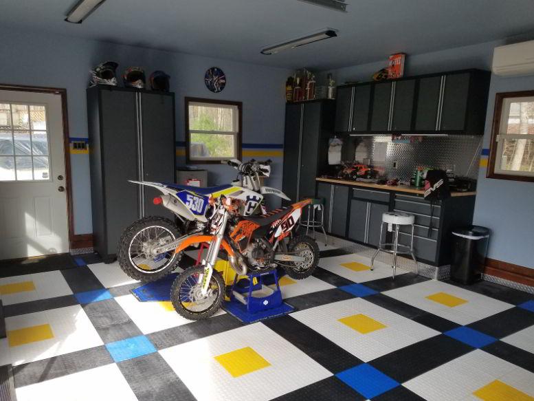 Colorful Motorcycle Garage Design